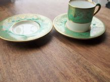 2 X RARE OLD HIGHLY GILDED SMALL SAUCERS WITH MATCHING CUP (TLC) WEDGWOOD W1504